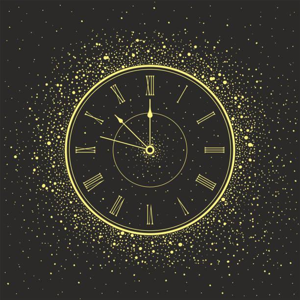 new year clock - clock face stock illustrations, clip art, cartoons, & icons