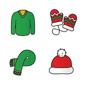 New Year clothes icons