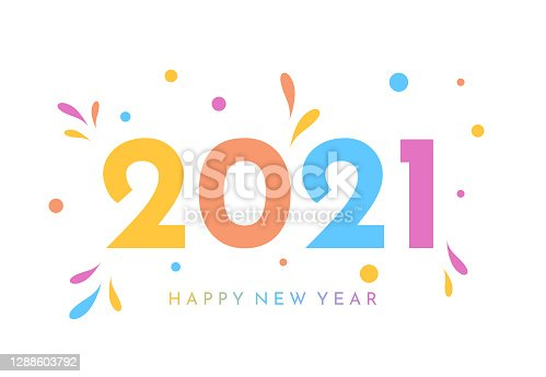 istock 2021 New Year colorful card. Vector 1288603792