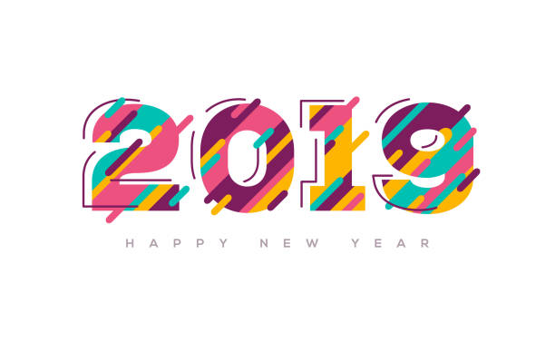 2019 New year colorful numbers vector art illustration