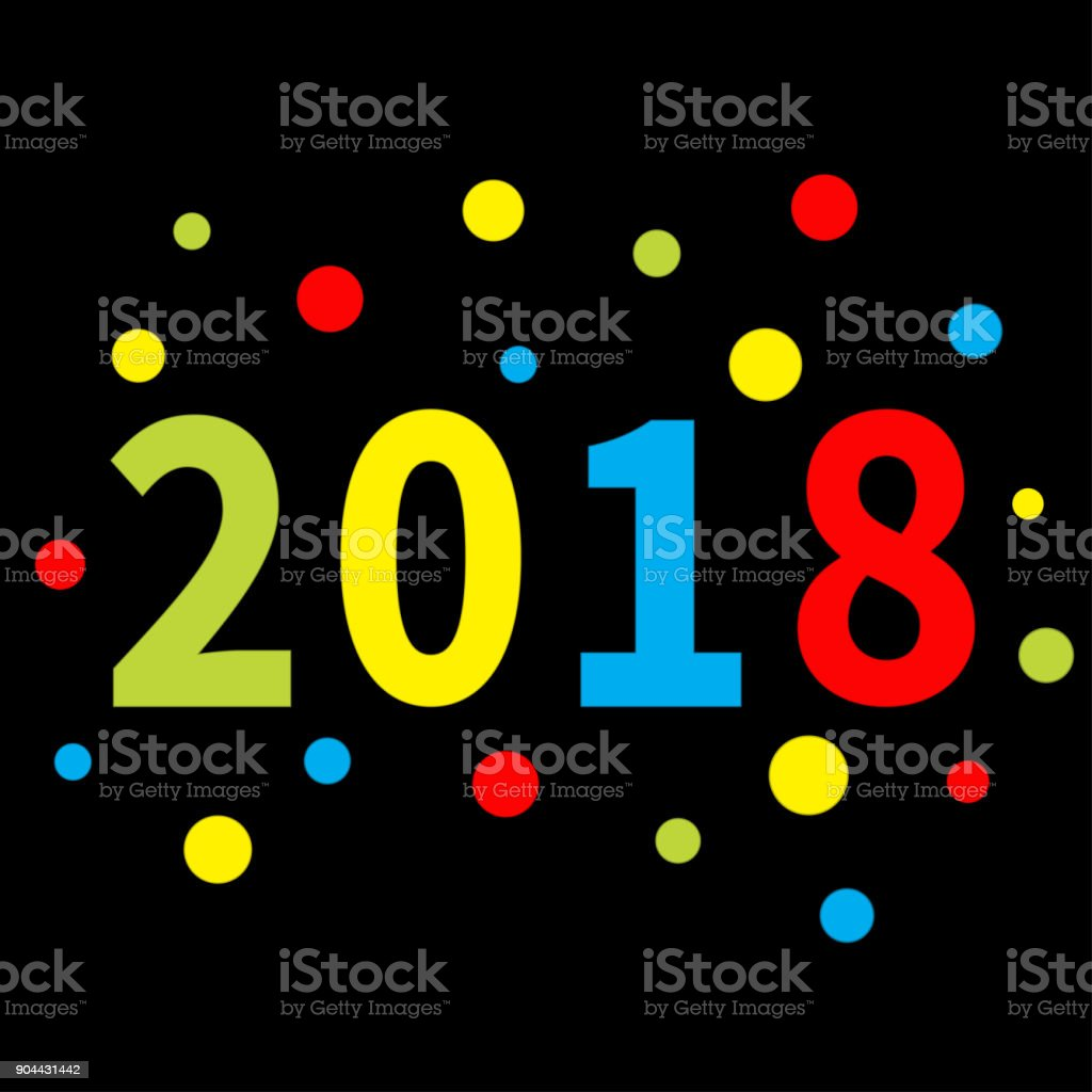2018 New Year Colorful Round Dot Template For Greeting Card Calendar ...