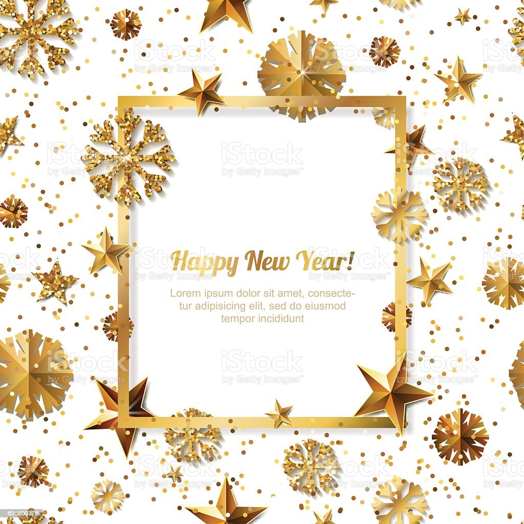 New Year concept. 3d gold stars and snowflakes. Vector illustration. vector art illustration