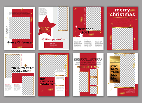 2021 New Year Concept lookbook template. Poster, flyer, brochure geometric shapes layout. Gold details and red background.