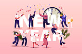 New Year Concept. Male Female Characters Celebrating Winter Season Holidays, Corporate Party Event Dancing, Drinking Champagne. People Celebration Poster Banner Flyer. Cartoon Vector Illustration