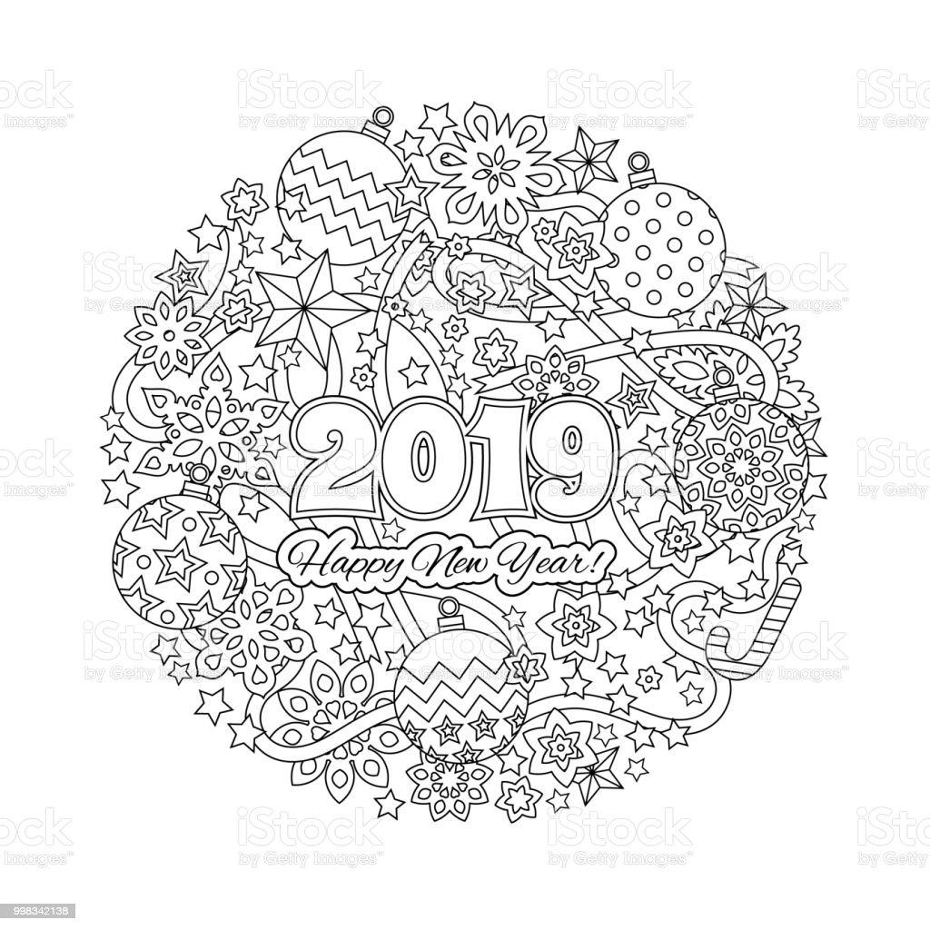 Ilustración De Tarjeta De Felicitación De Año Nuevo Con