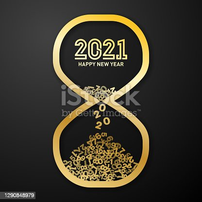 concept image of new year's day 2021 countdown. Number 2020 is falling down from hourglass