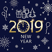 Join the countdown party on the New Year's Eve 2019 with geometric symbols of clock, firework, pine tree, wineglass, champagne bottle, gift box, snowflake and balloon