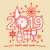 Join the countdown party on the New Year's Eve 2019 with geometric symbols of clock, firework, pine tree, wineglass, champagne bottle, gift box and snowflake
