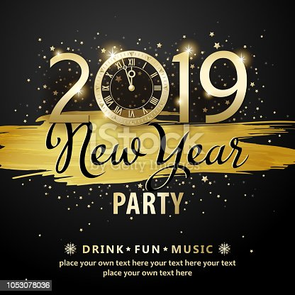 Join the countdown party on the New Year's Eve of 2019 with gold colored paint brush and stars on the black background