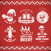 New year craft beer badges and stickes. Vector christmas beer logos with Santa, bottles, mugs, sleigh and holiday decoration for bar or pub. Vintage knitted sweater background.