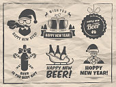 New year craft beer badges and stickes. Vector christmas beer s with Santa, bottles, mugs, sleigh and holiday decoration for bar or pub. Vintage paper background.