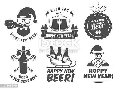 istock New year craft beer logos and badges. 1078088168