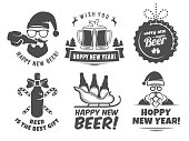 New year craft beer logos and badges. Vector christmas beer labels with Santa, bottles, mugs, sleigh and holiday decoration for bar or pub