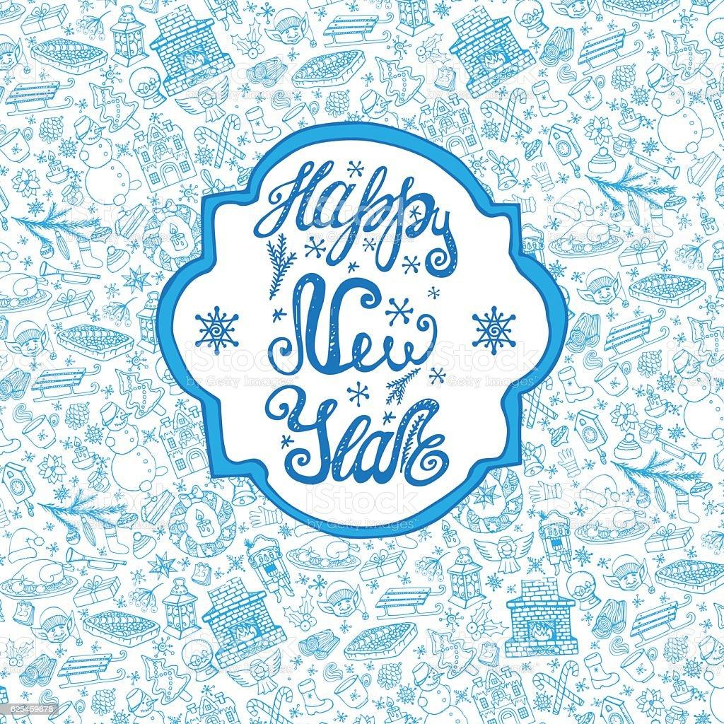 new year crddoodle pattern backgroundlabel royalty free new year crddoodle pattern