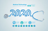 2020 new year creative design with stethoscope, And medical flat icons in medicine technology concept, Vector illustration modern layout template