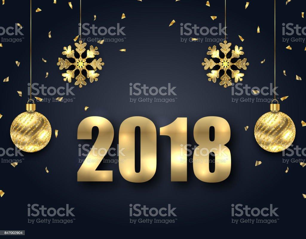 Neue Jahr Dunklen Hintergrund Mit Goldenen Kugeln Gruß Banner Stock ...