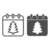 istock New Year Date line and solid icon, Christmas concept, winter holiday Calendar sign on white background, christmas tree on paper icon in outline style for mobile concept. Vector graphics. 1285387563
