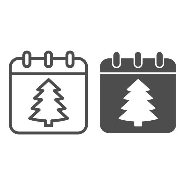 illustrations, cliparts, dessins animés et icônes de ligne de date du nouvel an et icône solide, concept de noël, signe de calendrier de vacances d'hiver sur fond blanc, arbre de noël sur l'icône de papier dans le modèle de contour pour le concept mobile. graphiques vectoriels. - calendrier de l'avant