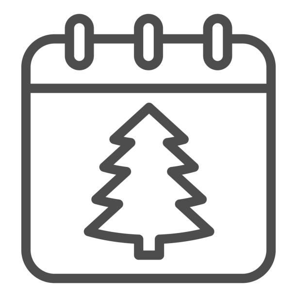 illustrations, cliparts, dessins animés et icônes de icône de ligne de date de nouvel an, concept de noël, signe de calendrier de vacances d'hiver sur fond blanc, arbre de noël sur l'icône de papier dans le modèle de contour pour le concept mobile. graphiques vectoriels. - calendrier de l'avant