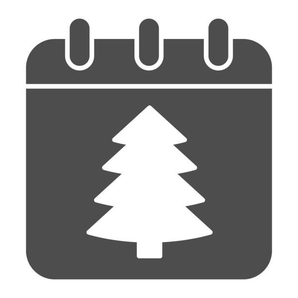 illustrations, cliparts, dessins animés et icônes de icône solide de date de nouvel an, concept de noël, signe de calendrier de vacances d'hiver sur fond blanc, arbre de noël sur l'icône de papier dans le modèle de glyphe pour le concept mobile. graphiques vectoriels. - calendrier de l'avant