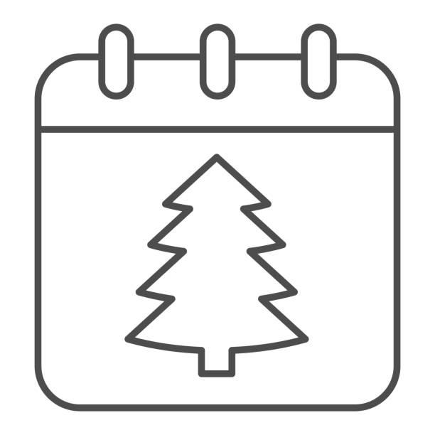illustrations, cliparts, dessins animés et icônes de icône de ligne mince de date de nouvel an, concept de noël, signe de calendrier de vacances d'hiver sur le fond blanc, arbre de noël sur l'icône de papier dans le modèle de contour pour le concept mobile. graphiques vectoriels. - calendrier de l'avant