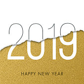 2019 - New Year Day greeting card. - Illustration