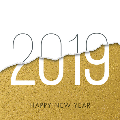 2019 - New Year Day greeting card.