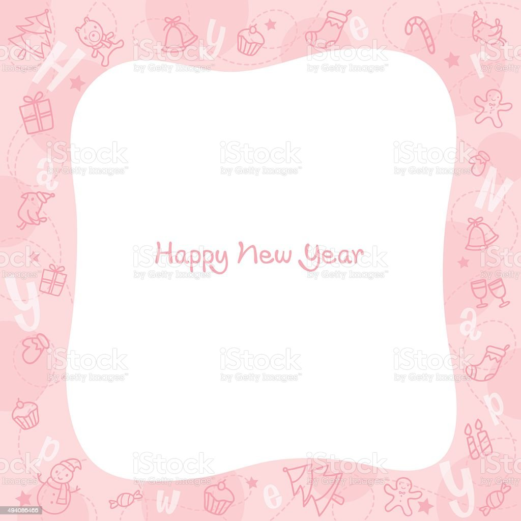 new year decoration outline icons border pink background stock