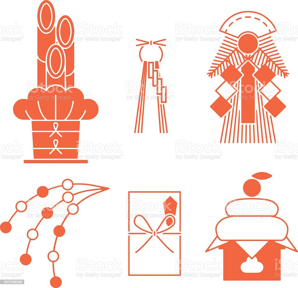 New Year decorations. Customs of the Japanese New Year. vector art illustration