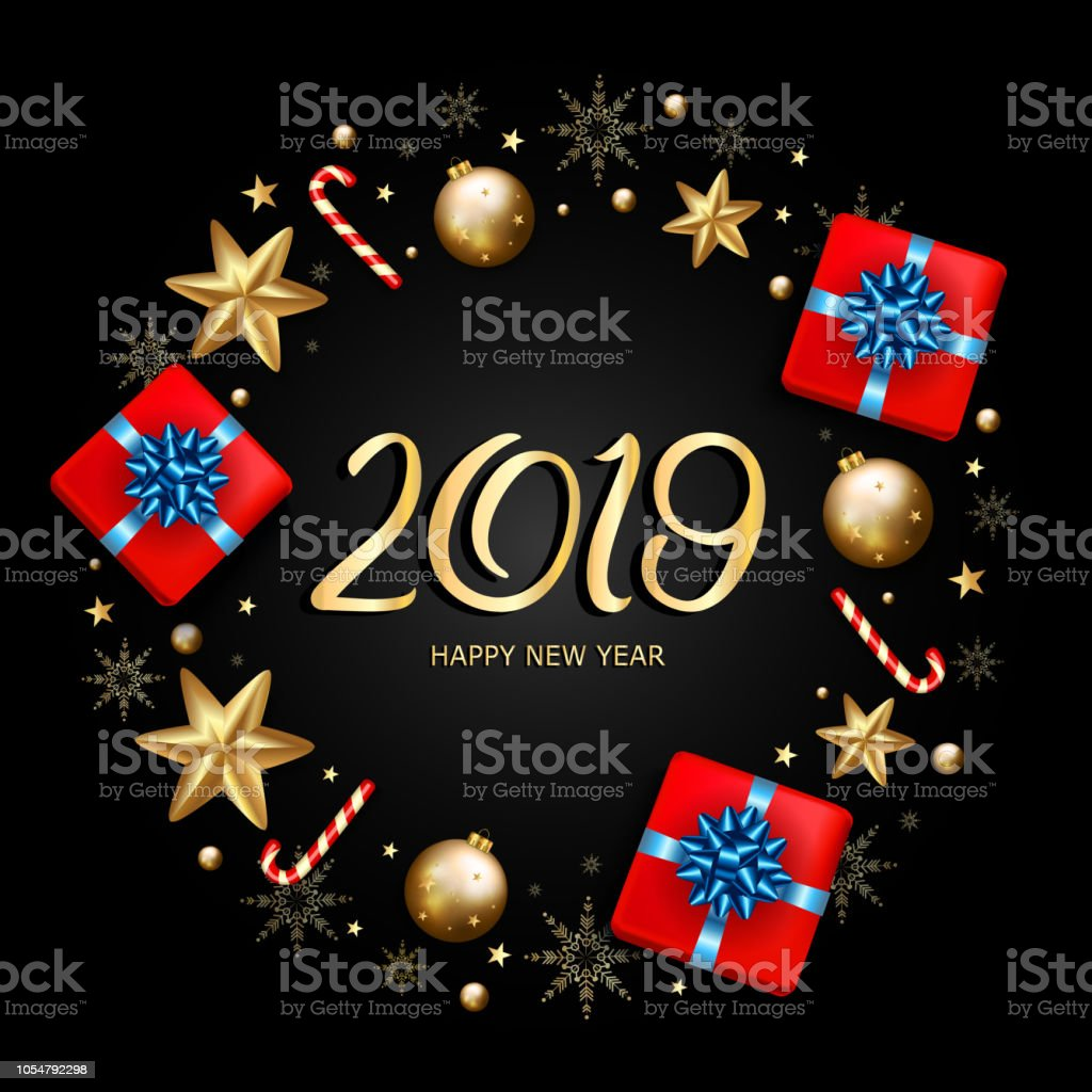 2019 new year decorative border made of festive elements on black background vector illustration royalty
