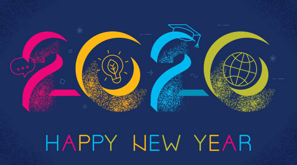 2020 new year elearning concept - e-learning not icons stock illustrations