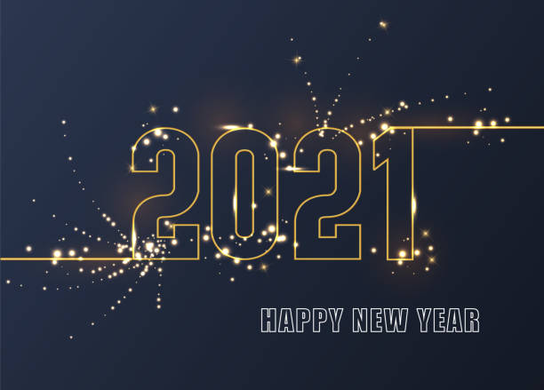 2021 New Year. Elegant gold text with light. Holiday vector illustration of golden numbers 2021. Festive poster or banner design. 2021 New Year. Elegant gold text with light. Holiday vector illustration of golden numbers 2021. Festive poster or banner design happy new year 2021 stock illustrations