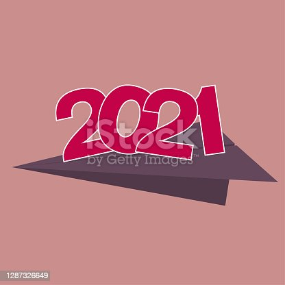 istock 2021 New Year element design, Transport new year symbols using paper airplanes. 1287326649