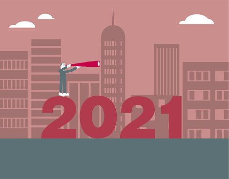 """2021 New Year element design,A man holding a telescope to observe standing on the """"2021"""".The background is urban construction."""