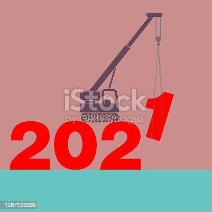 "istock 2021 New Year element design,Crane hoisting number ""1"". 1287123393"