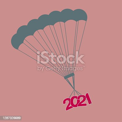 2021 New Year element design,Parachute is used to transport the New Year symbol