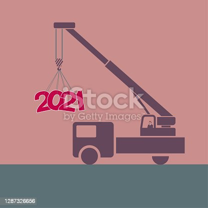 """istock 2021 New Year element design,The hoisting number """"2021"""" uses a crane. 1287326656"""
