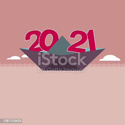 """istock 2021 New Year element design,The paper ship transport number """"2021"""". 1287123423"""