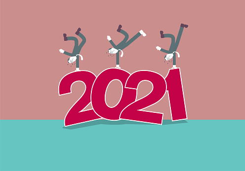 """2021 New Year element design,Three men are dancing hip-hop on """"2021""""."""