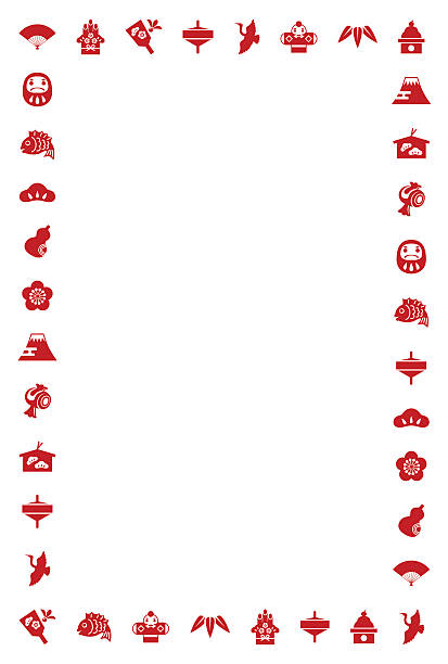 new year elements border illustration - mountain top 幅插畫檔、美工圖案、卡通及圖標