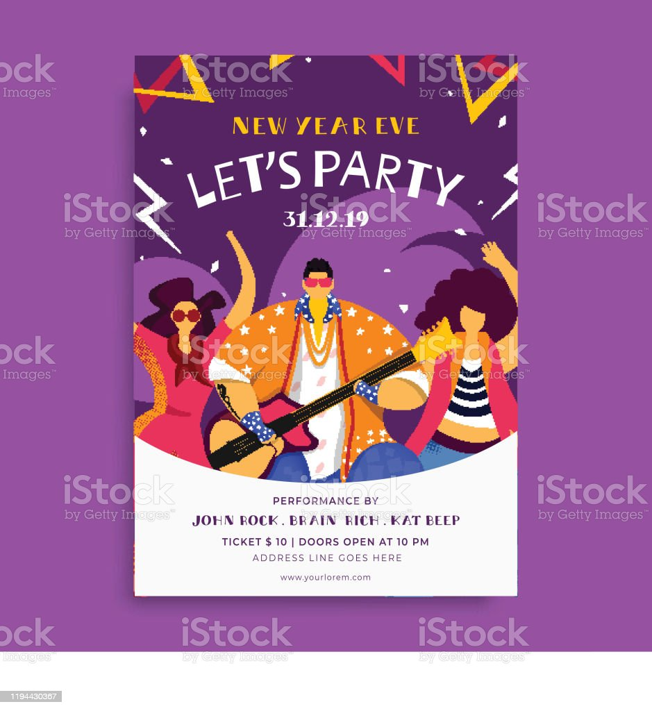 New Year Eve Party Flyer Design With Guy Playing Guitar And Female Dancing On Purple Abstract Background Stock Illustration Download Image Now Istock