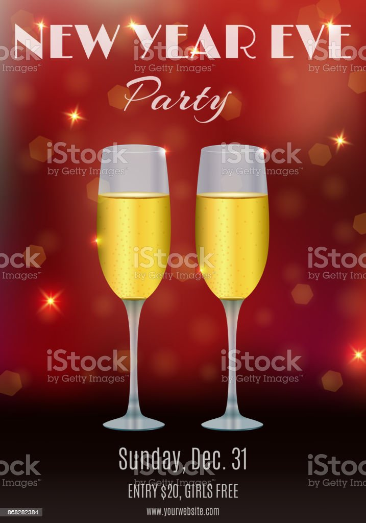 new year eve party flyer invitation ticket design with glasses of champagne and abstract bokeh