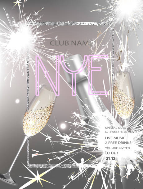 new year eve party invitation card with bottle of champagne glasses watch and air balloons vector illustration stock vector art more images of arts