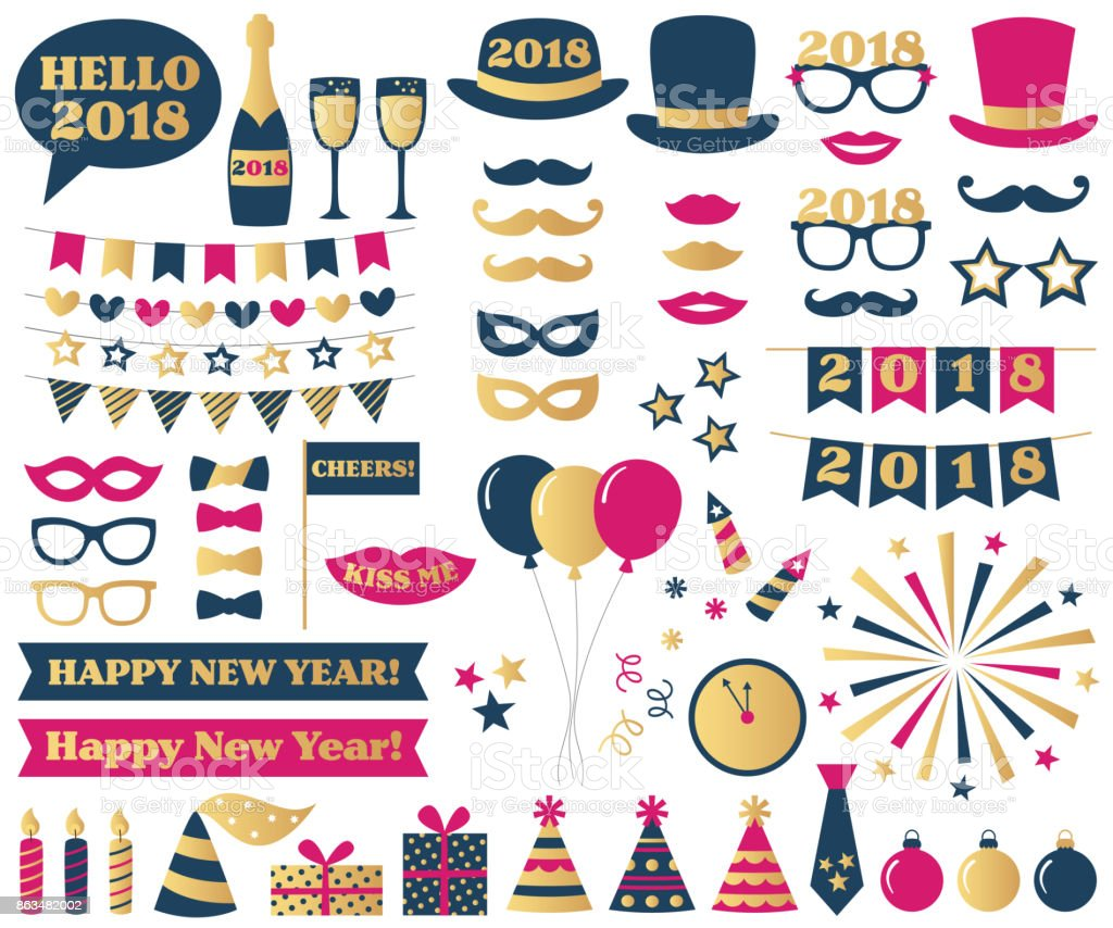 New Year Eve party photo booth props vector art illustration