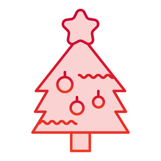 New Year eve tree color icon. Fir-tree with decoration and starsymbol, gradient style pictogram on white background. Christmas holiday sign for mobile concept and web design. Vector graphics. New Year eve tree color icon. Fir-tree with decoration and starsymbol, gradient style pictogram on white background. Christmas holiday sign for mobile concept and web design. Vector graphics winter weather clip art stock illustrations