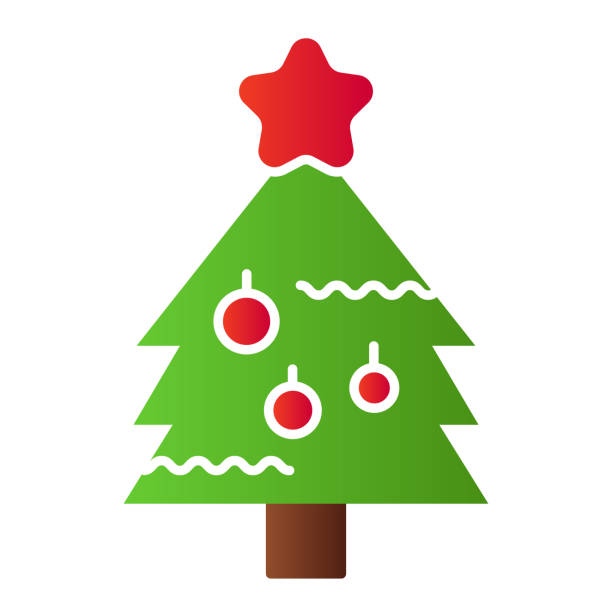 New Year eve tree flat icon. Fir-tree with decoration and starsymbol, gradient style pictogram on white background. Christmas holiday sign for mobile concept and web design. Vector graphics. New Year eve tree flat icon. Fir-tree with decoration and starsymbol, gradient style pictogram on white background. Christmas holiday sign for mobile concept and web design. Vector graphics winter weather clip art stock illustrations