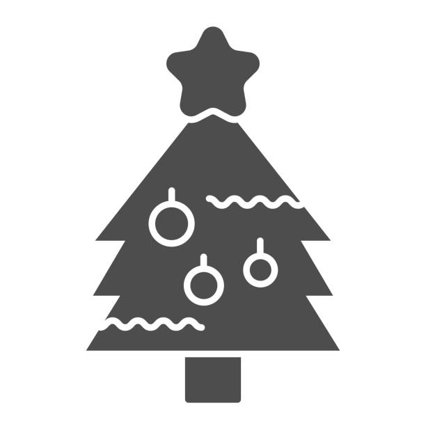 New Year eve tree solid icon. Fir-tree with decoration and starsymbol, glyph style pictogram on white background. Christmas holiday sign for mobile concept and web design. Vector graphics. New Year eve tree solid icon. Fir-tree with decoration and starsymbol, glyph style pictogram on white background. Christmas holiday sign for mobile concept and web design. Vector graphics winter weather clip art stock illustrations