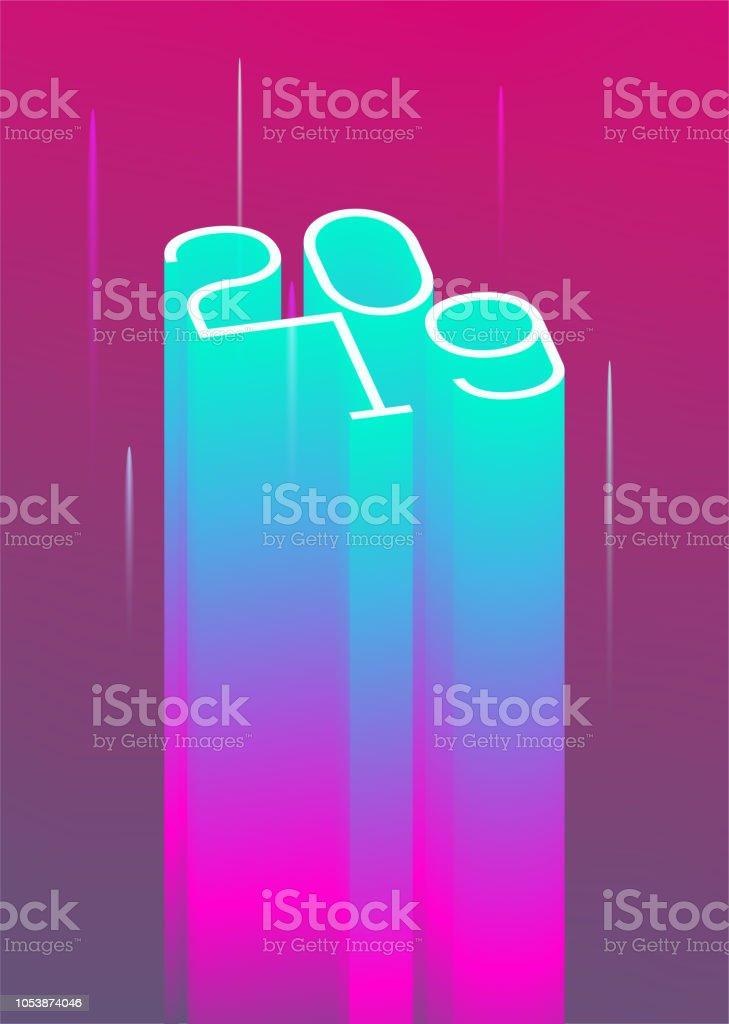 2019 New Year event poster flyer modern styled neon template. Vector Illustration vector art illustration