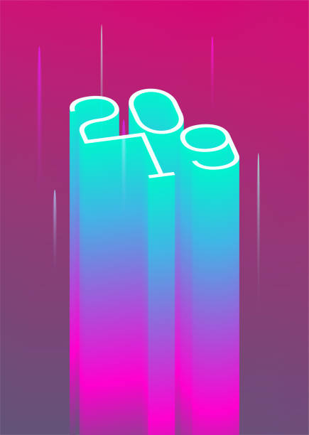 2019 new year event poster flyer modern styled neon template. vector illustration - abstract calendar stock illustrations, clip art, cartoons, & icons