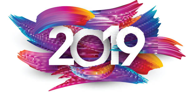 illustrazioni stock, clip art, cartoni animati e icone di tendenza di 2019 new year festive background with colorful brush strokes. - sfondo artistico